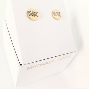 Michael Kors Jewelry - NWT authentic MK gold tone stone logo studs
